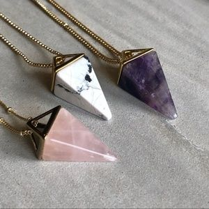 NWT Crystal Pyramid 14K Gold Necklace 3 Gemstones